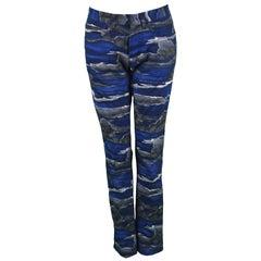 Kenzo Paris Unisex Blue Night Sky Cloud Print Slim Leg Jeans Pants