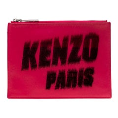 Kenzo Pink/Black Logo Leather Clutch