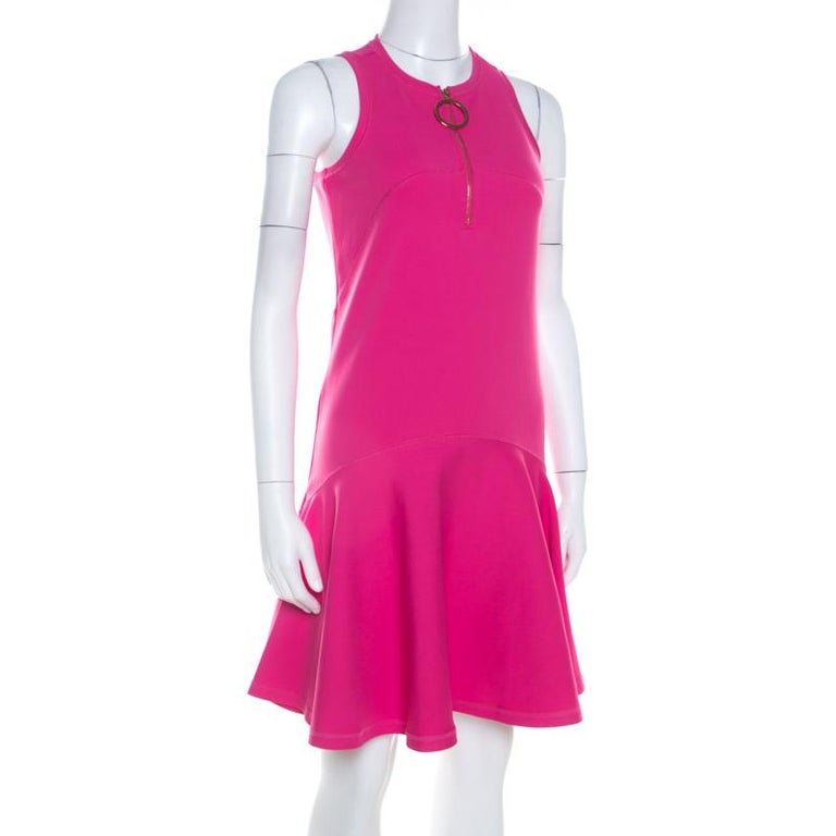 Kenzo Pink Neoprene Drop Waist Sleeveless Dress XS In New Condition For Sale In Dubai, Al Qouz 2