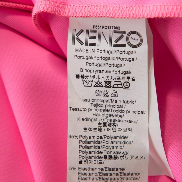 Women's Kenzo Pink Neoprene Drop Waist Sleeveless Dress XS For Sale