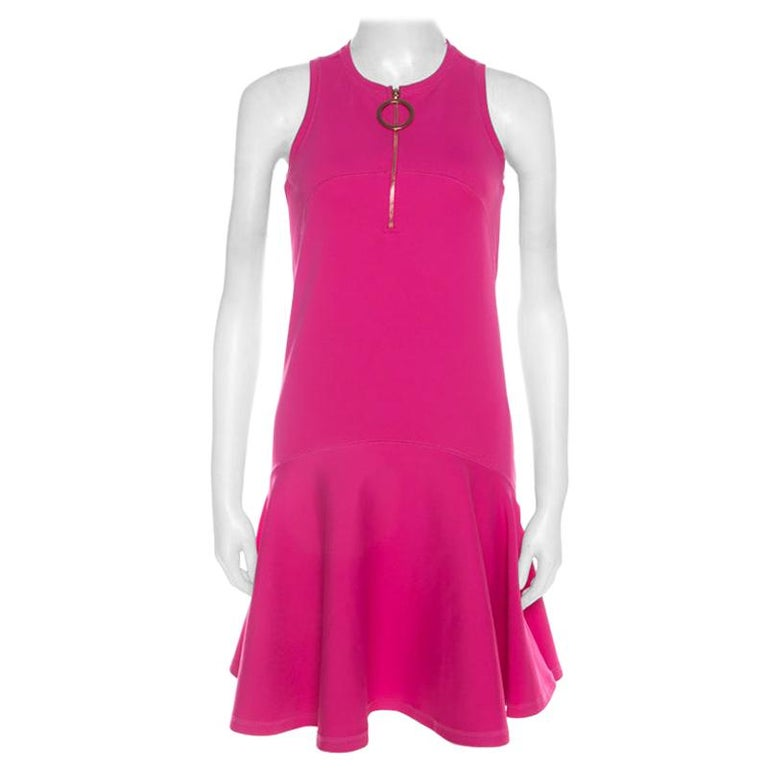 Kenzo Pink Neoprene Drop Waist Sleeveless Dress XS For Sale