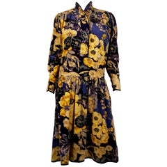 Kenzo Purple Velvet Floral Dress
