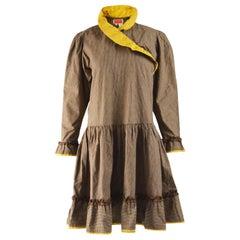 Kenzo Rare Vintage Oversized Brown Corduroy Dress c. 1981