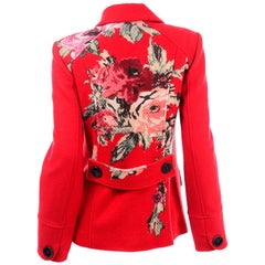 Kenzo Red Wool Double Breasted Jacket With Floral Back Detail Size 40