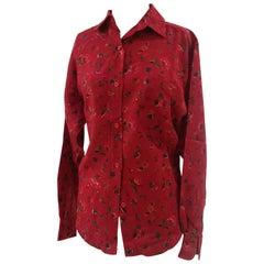Kenzo red wool flowers shirt