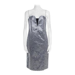 Kenzo Silver and Black Zig Zag Pattern Jacquard Strapless Dress M