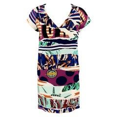 KENZO Size 2 Mixed Print V Neck Shift Dress