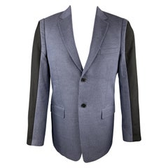 KENZO Size 40 Navy Textured Wool / Cotton Notch Lapel Black Trim Sport Coat