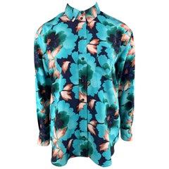KENZO Size L Aqua Floral Leafs Silk Long Sleeve Shirt