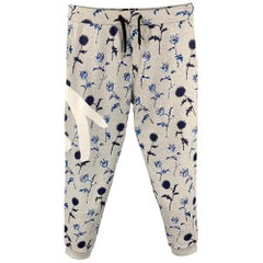 KENZO Size L Grey Floral Cotton Casual Sweatpants