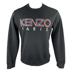 KENZO Size M Black Burgundy & Navy Embroidered Logo Cotton Crew-Neck Sweatshirt