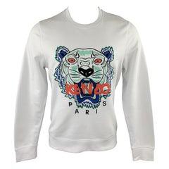KENZO Size M White Cotton Tiger Embroidered Crew-Neck Sweatshirt