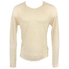 KENZO Size S Beige Knit Linen Scoop Neck Lightweight Pullover