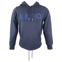 KENZO Size S Navy Embroidery Cotton Hooded Sweatshirt