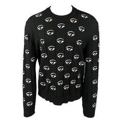 KENZO Size XL Black & White Embroidery Cotton Crew-Neck Pullover