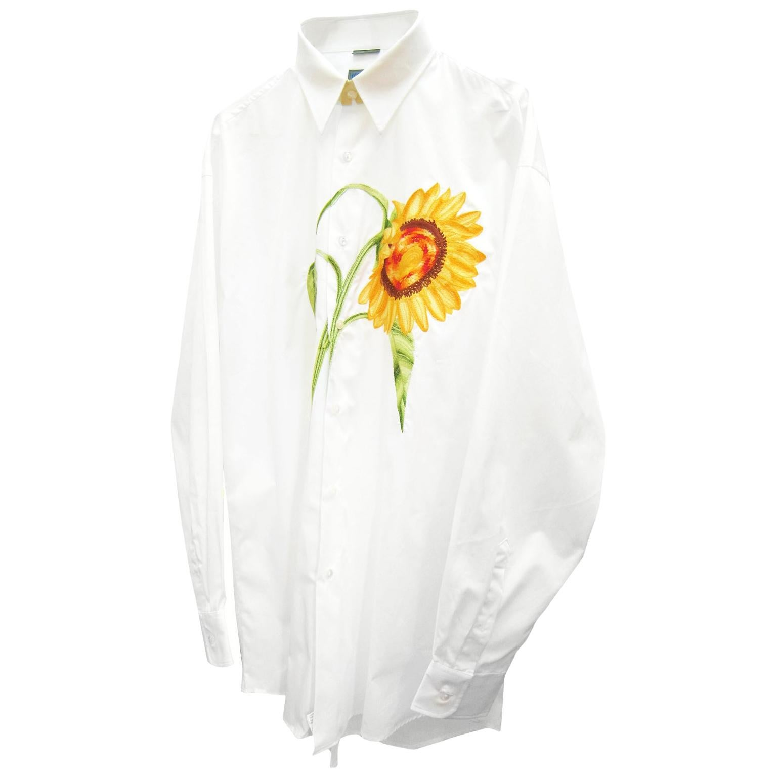 Kenzo Sunflower Large Embroidery Mens White Shirt NWT 1980s