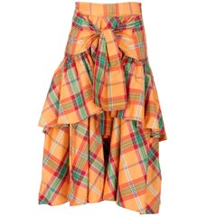 Kenzo Tartan Shantung Silk Vintage Skirt, 1990s