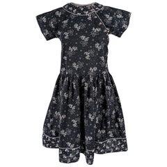 Kenzo Vintage 1980s Black Floral Print Cotton Dress