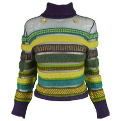 Kenzo Vintage 1990s Striped Semi Sheer Fuzzy Green & Purple Turtleneck Sweater