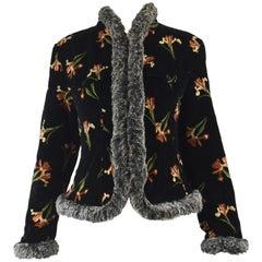 Kenzo Vintage Black Velvet & Faux Fur Floral Print Short Afghan Coat, 1990s