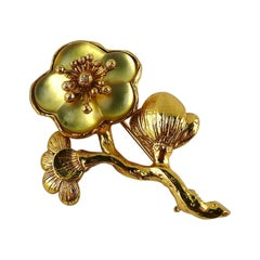 Kenzo Vintage Gold Toned Resin Flower Brooch