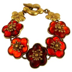 Kenzo Vintage Orange Resin Cherry Blossoms Link Bracelet