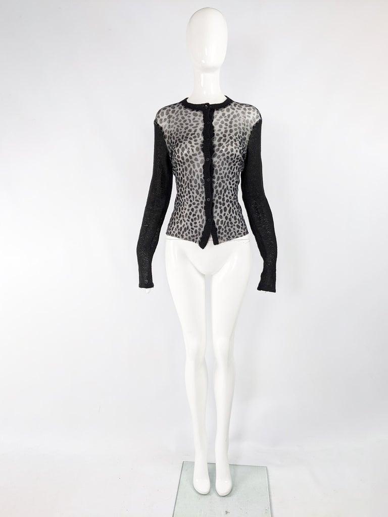 Black Kenzo Vintage Sheer Mesh Leopard Print Cardigan Sweater For Sale