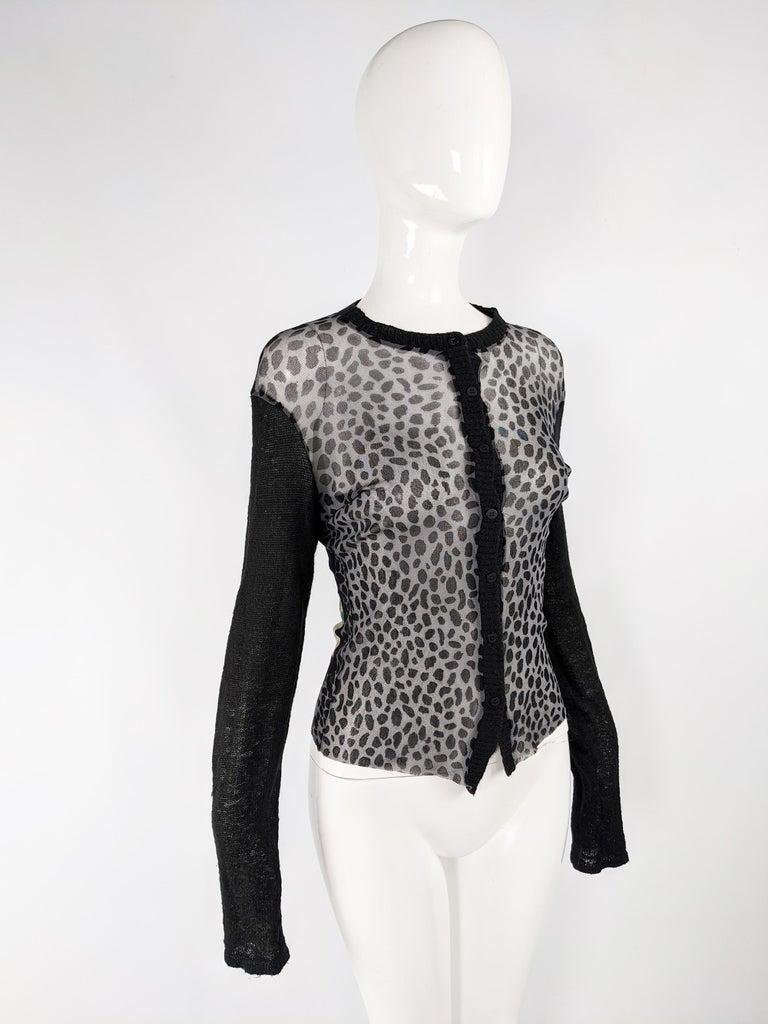 Kenzo Vintage Sheer Mesh Leopard Print Cardigan Sweater For Sale 2