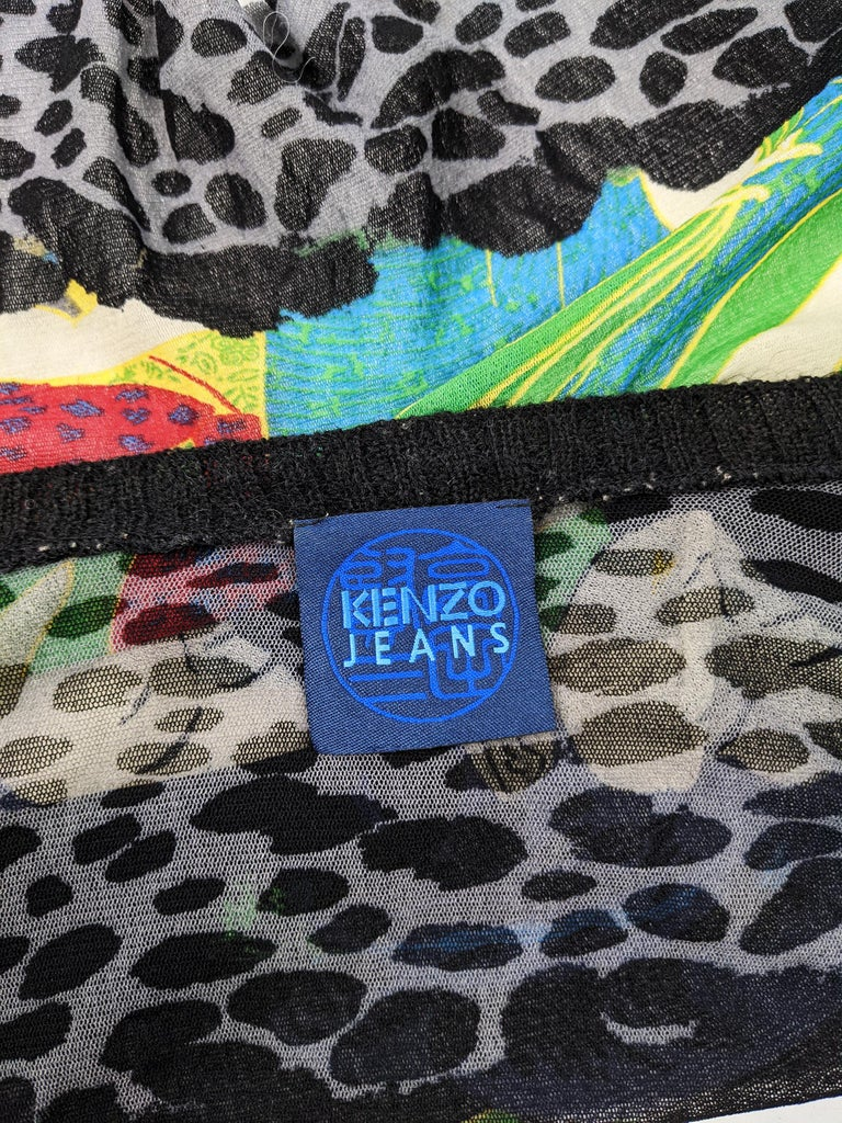 Kenzo Vintage Sheer Mesh Leopard Print Cardigan Sweater For Sale 4