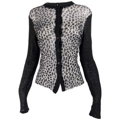 Kenzo Vintage Sheer Mesh Leopard Print Cardigan Sweater