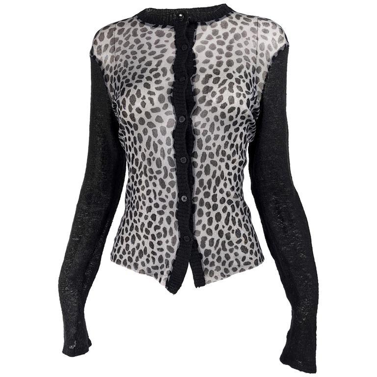 Kenzo Vintage Sheer Mesh Leopard Print Cardigan Sweater For Sale