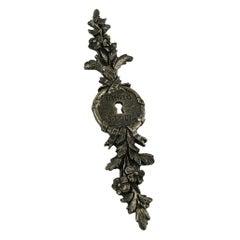 Kenzo Vintage Silver Toned Escutcheon Floral Brooch