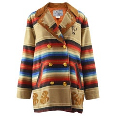 Kenzo Vintage Suede Fringed Blanket Coat