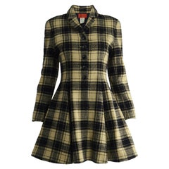 Kenzo Vintage Women's Checked Wool Tweed Flared Skirt Princess Coat, 1980s