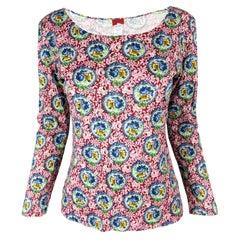 Kenzo Vintage Womens Floral Print Long Sleeve T Shirt, 1990s