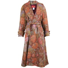 Kenzo Vintage Women's Floral Tapestry Brocade Belted Maxi Coat, 1990s