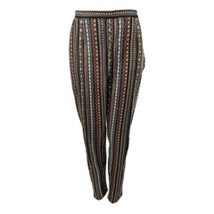 Kenzo Vintage Womens Woven Tapestry Cigarette Trousers Pants, 1990s