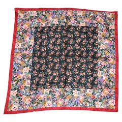 """Kenzo's Burgundy-Borders With Multi-Colors of """"Floral Blooms"""" Silk Scarf"""
