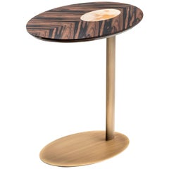 Keplero Side Table in Macassar Ebony Veneer and Corno Italiano, Mod. 6050EB