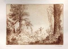 Nymphe Assise Accoudé au Pied d'un Arbre - Etching by K.-X. Roussel - 1900 ca.