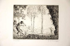 Nymphe et Faunes - Etching by K.-X. Roussel - 1900 ca.