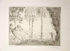 Nymphe et Faunes - Original Etching by K.-X. Roussel - 1900 ca.