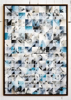 Blue & Black Squares by Kera - Geometric Abstraction with black and white