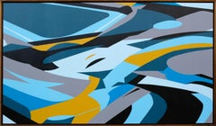 Blue Flow by Kera - Contemporary Geometric Abstraction with black and white