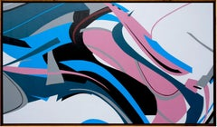 Pink Flow by Kera - Contemporary Geometric Abstraction with black and white