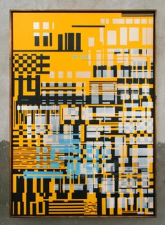 Untitled 019 - Geometric Abstraction with yellow, black and blue