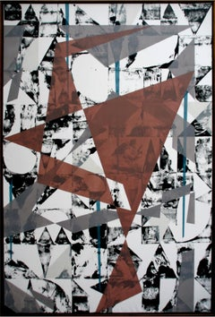 Untitled 024 by Kera - Geometric Abstraction with black and white and rusty red