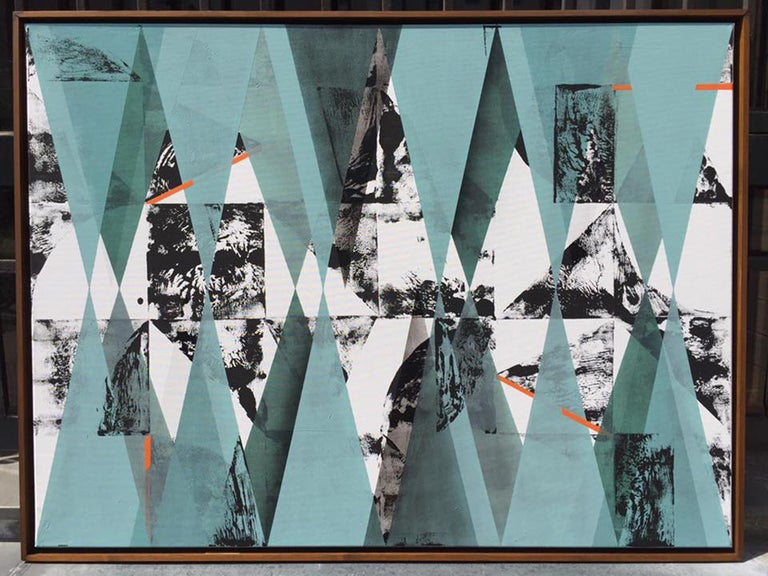 Untitled 034 by Kera - Geometric Abstraction with turquoise, black and blue For Sale 2