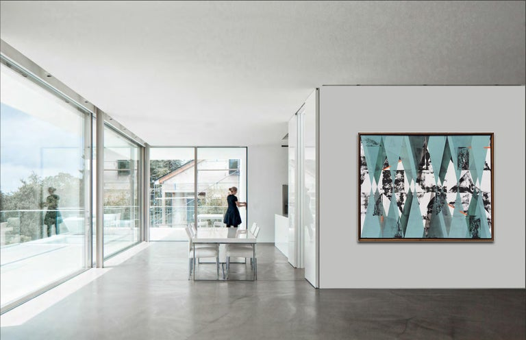 Untitled 034 by Kera - Geometric Abstraction with turquoise, black and blue For Sale 3