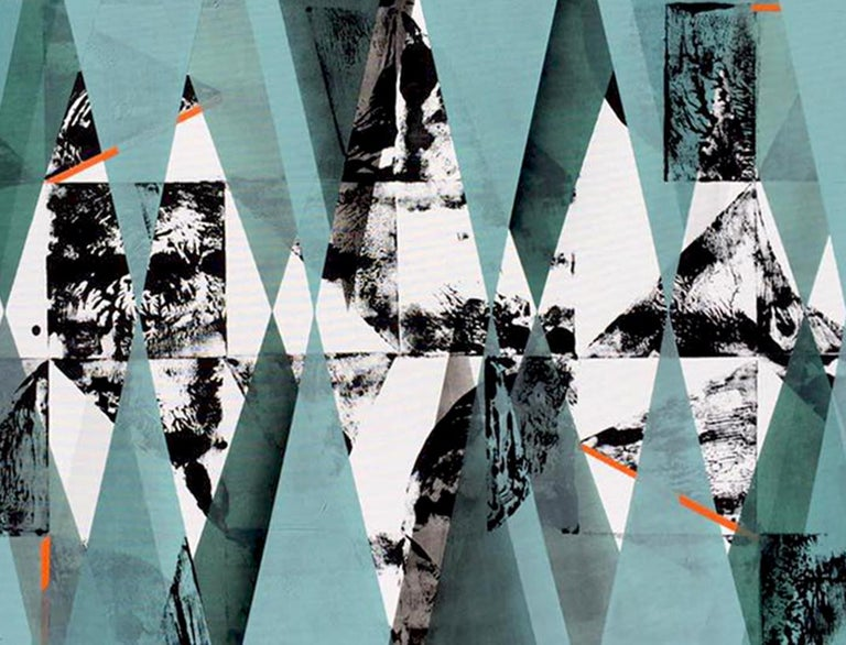 Untitled 034 by Kera - Geometric Abstraction with turquoise, black and blue For Sale 4